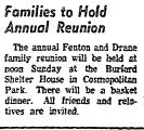 Families to Hold Annual Reunion