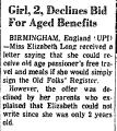 Girl, 2, Declines Bid for Aged...