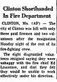 Clinton Shorthanded in Fire...