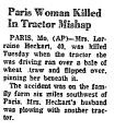 Paris Woman Killed in Tractor...