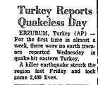 Turkey Reports Quakeless Day