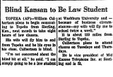 Blind Kansan to be Law Student