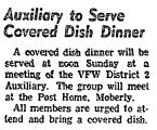 Auxiliary to Serve Covered Dish...