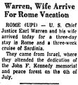 Warren, Wife Arrive for Rome...