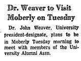 Dr. Weaver to Visit Moberly on...
