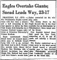 Eagles Overtake Giants; Snead...