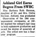 Ashland Girl Earns Degree from...