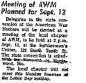 Meeting of Awm Planned for Sept....
