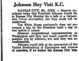 Johnson May Visit K. C.