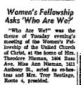 Women's Fellowship Asks 'Who Are...