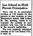 Lee School to Hold Parent...