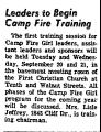 Leaders to Begin Camp Fire...