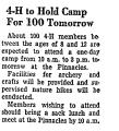 4-H to Hold Camp for 100 Tomorrow