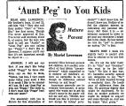 'Aunt Peg' to You Kids