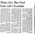 Plants Give Man Food Tools,...