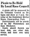 Picnic to be Held by Local Race...