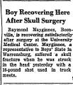 Boy Recovering Here after Skull...