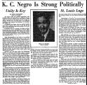 K. C. Negro is Strong Politically