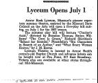 Lyceum Opens July 1