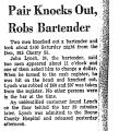 Pair Knocks out, Robs Bartender