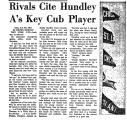 Rivals Cite Hundley A's Key Cub...