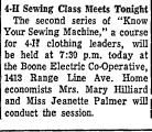 4-H Sewing Class Meets Tonight