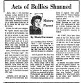 Acts of Bullies Shunned