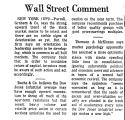 Wall Street Comment