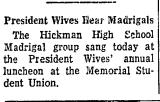 President Wives Hear Madrigals