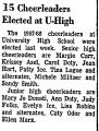 15 Cheerleaders Elected at U-High