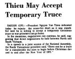 Thieu May Accept Temporary Truce