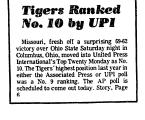 Tigers Ranked No. 10 by UPI