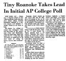 Tiny Roanoke Takes Lead in...