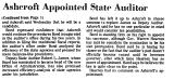 Ashcroft Appointed State Auditor