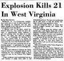 Explosion Kills 21 in West...