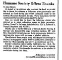 Humane Society Offers Thanks
