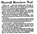 Morrall Receives Nod