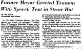 Former Mayor Greeted Truman with...