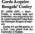 Cards Acquire Bengal's Conley