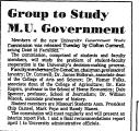 Group to Study M. U. Government