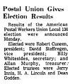 Postal Union Gives Election...