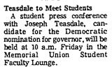 Teasdale to Meet Students