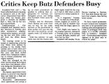 Critics Keep Butz Defenders Busy