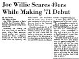 Joe Willie Scares 49ers While...