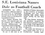 S. E. Louisiana Names Dale as...