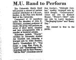 M. U. Band to Perform
