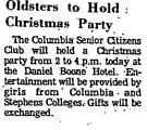Oldsters to Hold Christmas Party