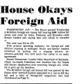 House Okays Foreign Aid