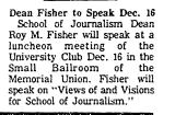 Dean Fisher to Speak Dec. 16