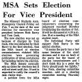 MSA Sets Election for Vice...
